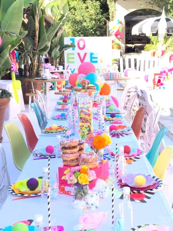 10Th Birthday Party Ideas Girl  Kara s Party Ideas Colorful Modern 10th Birthday Party