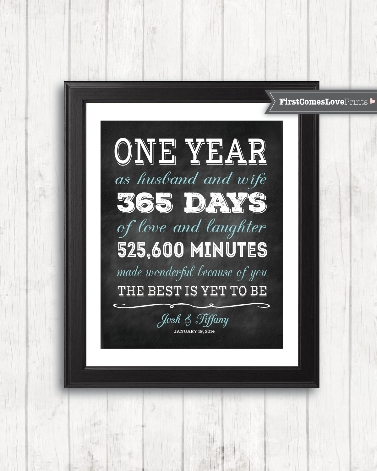 1St Anniversary Gift Ideas For Him  Chalkboard Style First Anniversary Gift for Husband for Wife