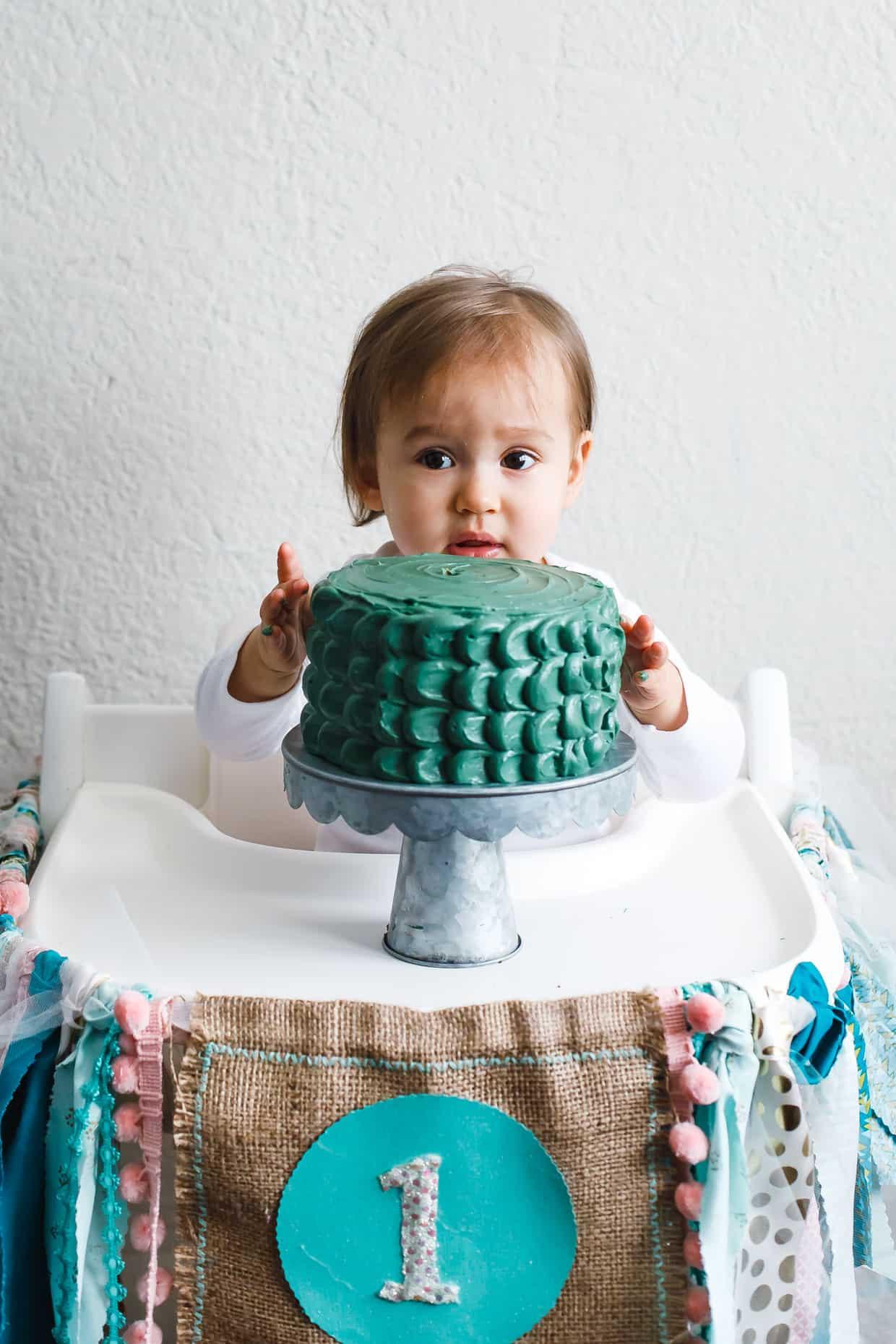 1st Birthday Cake Smash  Baby Smash Cake Spiced Banana Date Cake with Maple Cream