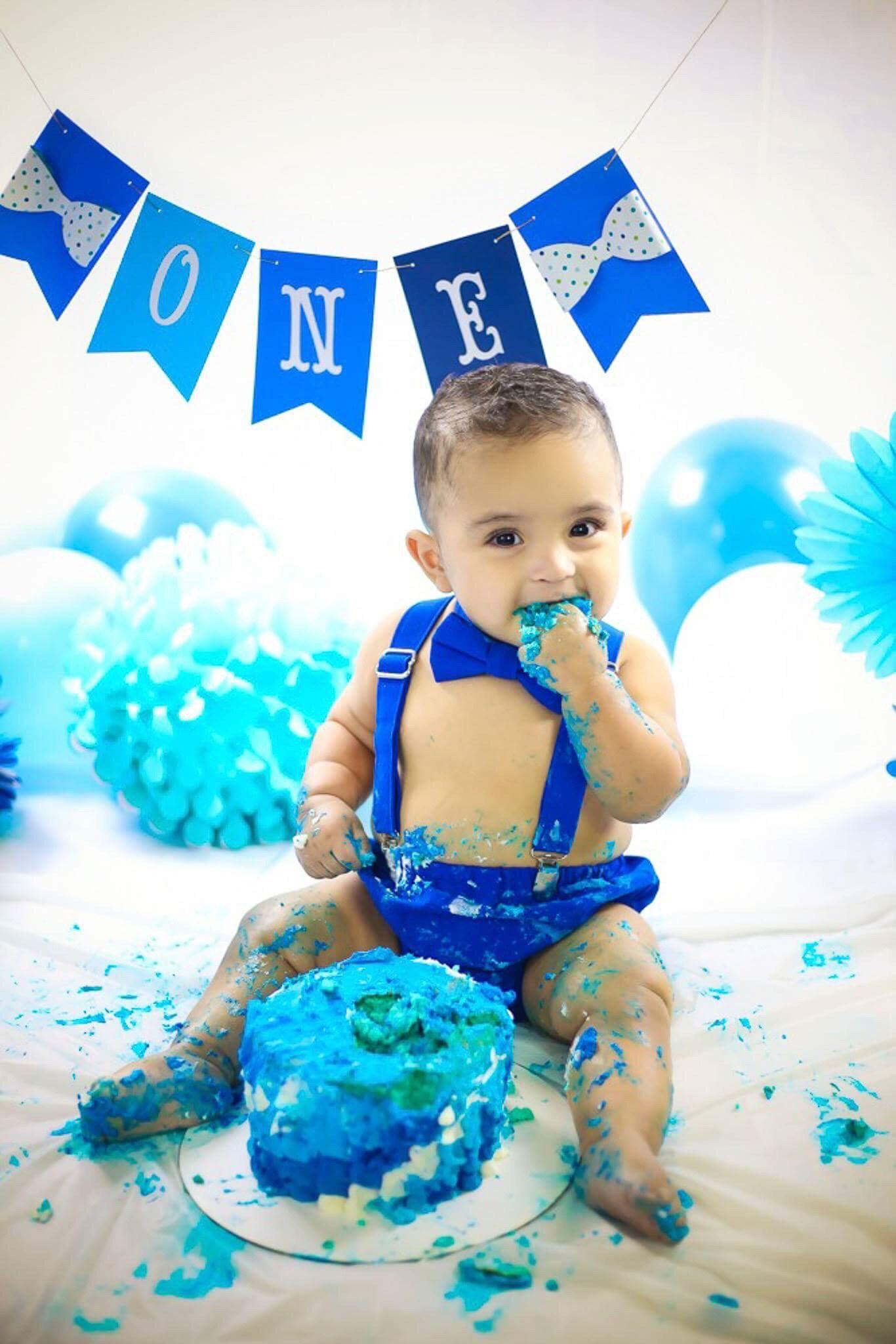 1st Birthday Cake Smash  Boy Cake Smash Outfit Blue Boy Cake Smash Boy 1st Birthday
