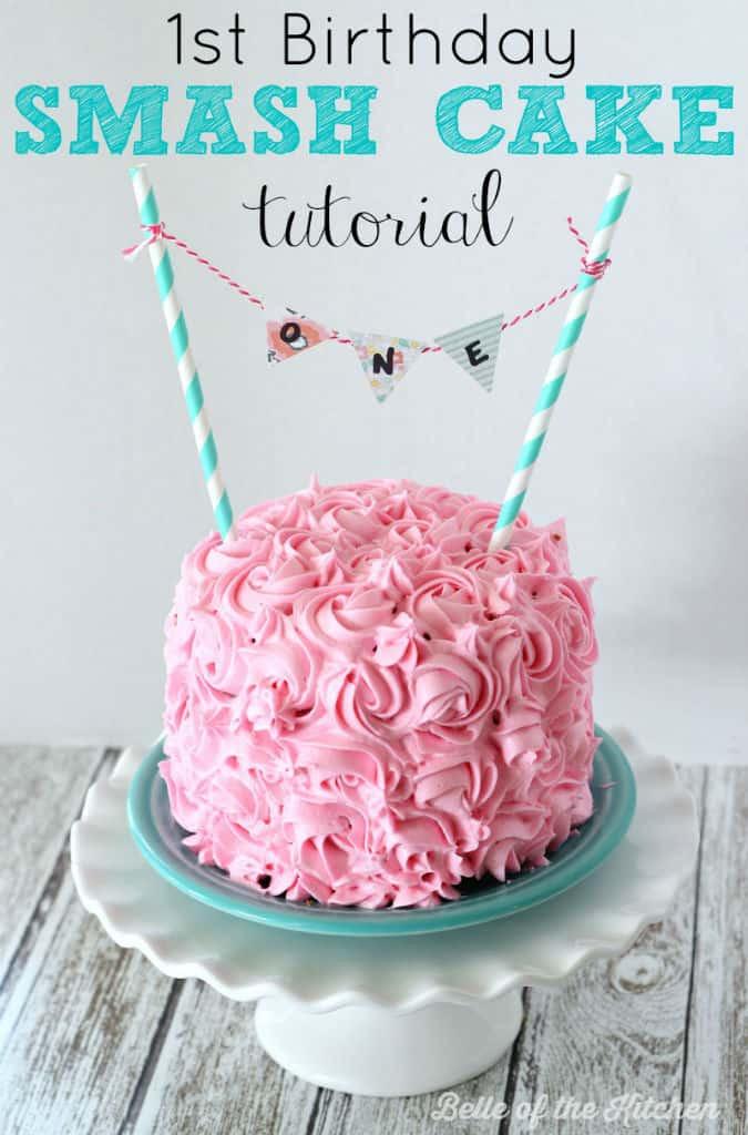 1st Birthday Cake Smash  1st Birthday Smash Cake Tutorial Simple Vanilla Cake