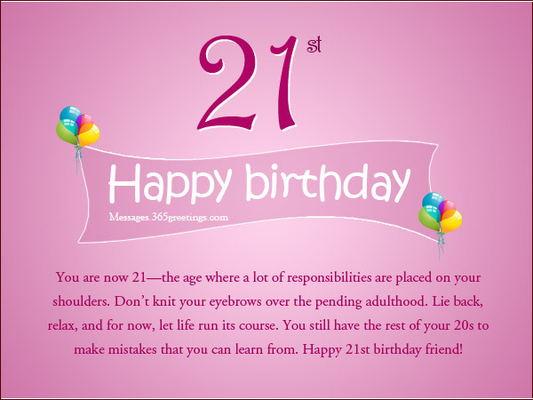 21st Birthday Quote  21st Birthday Wishes Messages and Greetings
