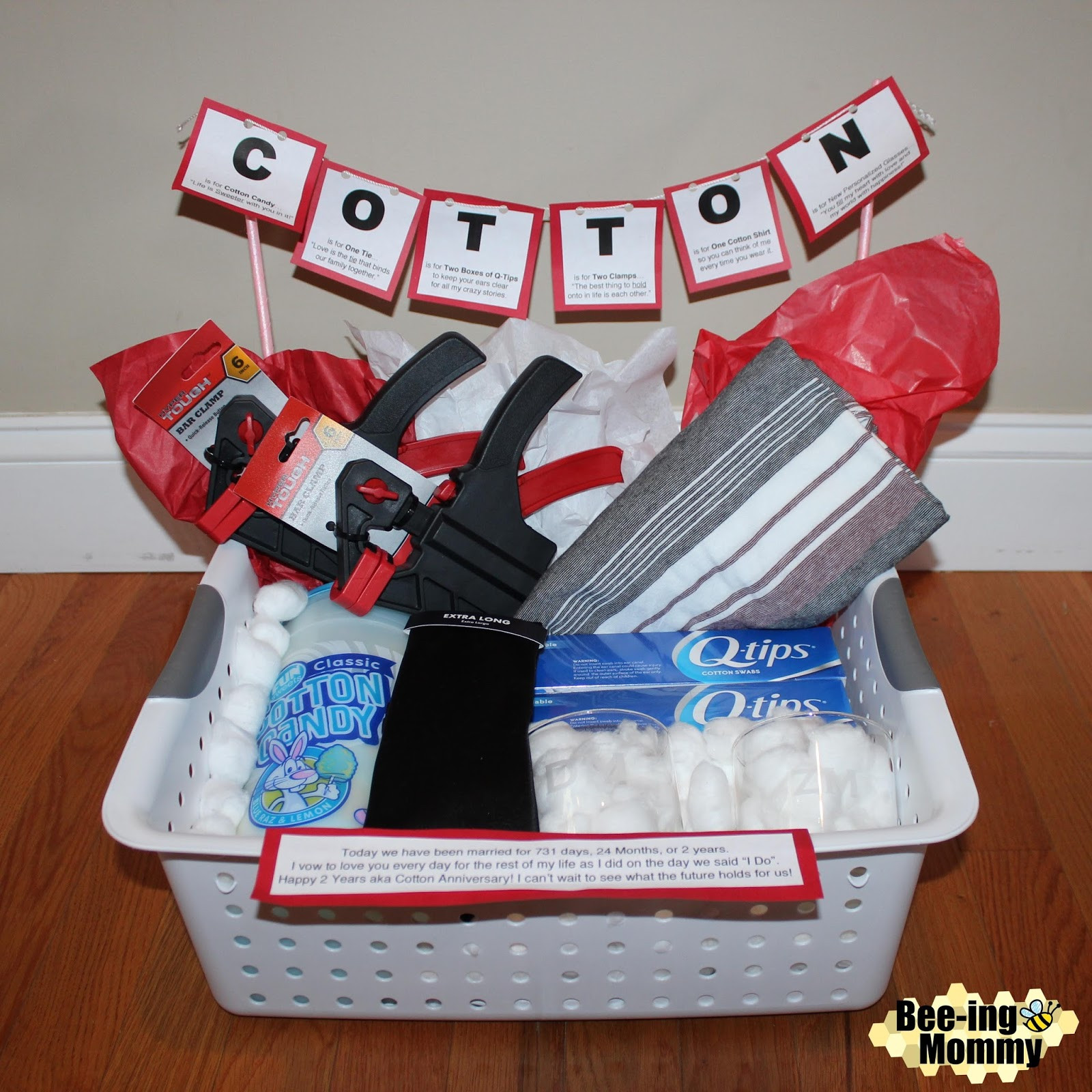 2Nd Anniversary Gift Ideas Her  Cotton Anniversary Gift Basket plus several more t
