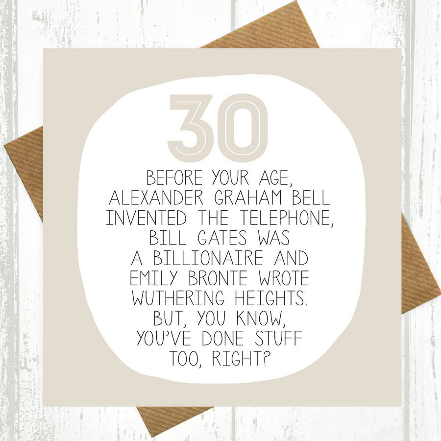 30 Birthday Quotes Funny  by your age… funny 30th birthday card by paper plane