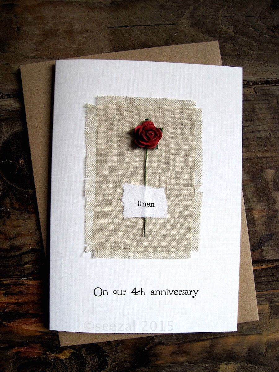 4 Year Wedding Anniversary Gift Ideas  4th Anniversary Keepsake Card LINEN Natural Linen Fabric