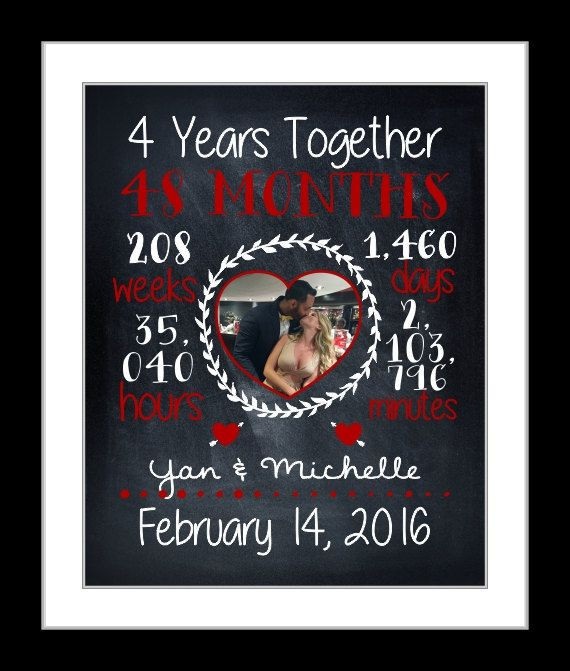 4 Year Wedding Anniversary Gift Ideas  Custom anniversary t for her 4th year fourth year