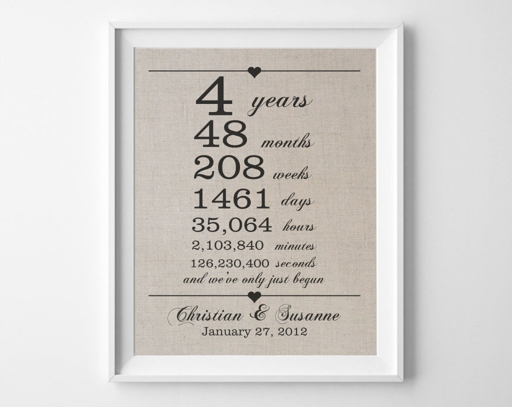 4 Year Wedding Anniversary Gift Ideas  4 years to her Linen Anniversary Print 4th Wedding