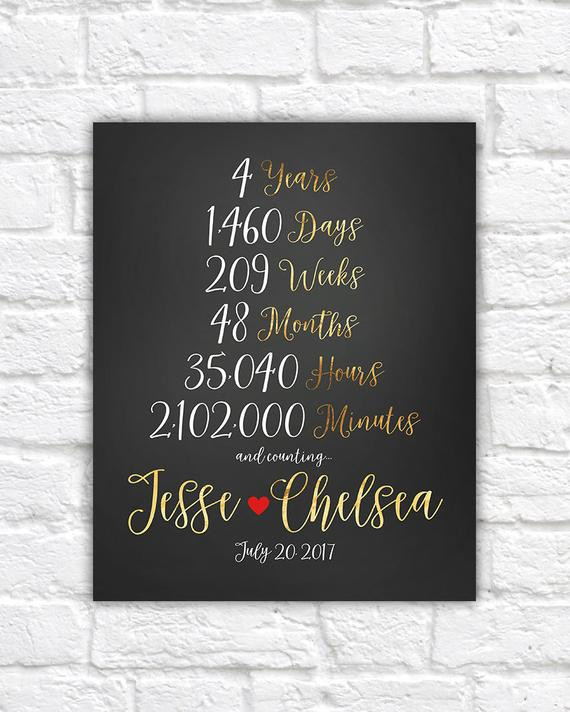 4 Year Wedding Anniversary Gift Ideas  4 Year Anniversary 4th Anniversary Gift Ideas Married for 4