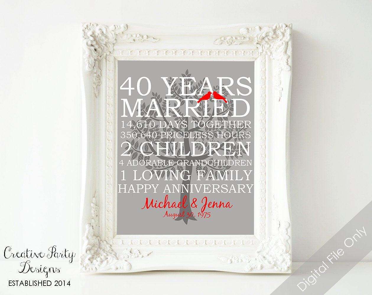 40Th Wedding Anniversary Gift Ideas  40th Wedding Anniversary Gift 40th Anniversary Print