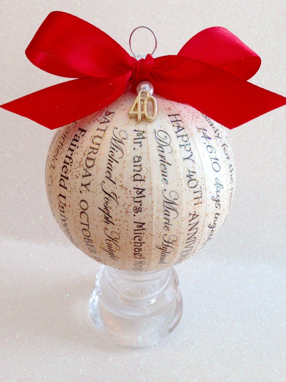 40Th Wedding Anniversary Gift Ideas  40th Anniversary Gift Unique Personalized Ornament Parent