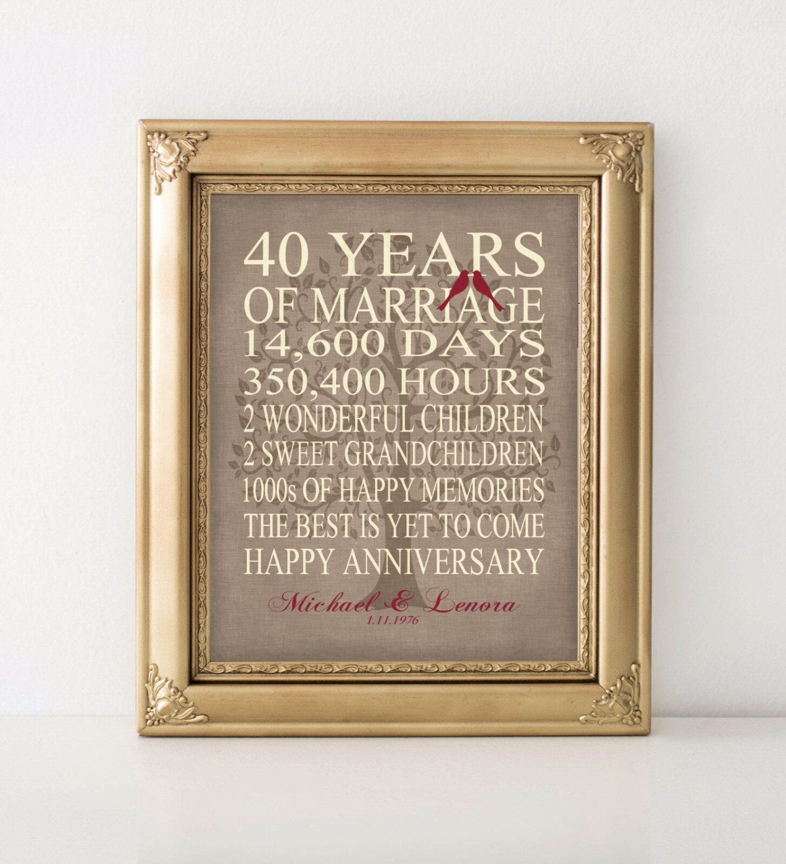 40Th Wedding Anniversary Gift Ideas  Wedding Anniversary Gift 40th Anniversary Gift Personalized