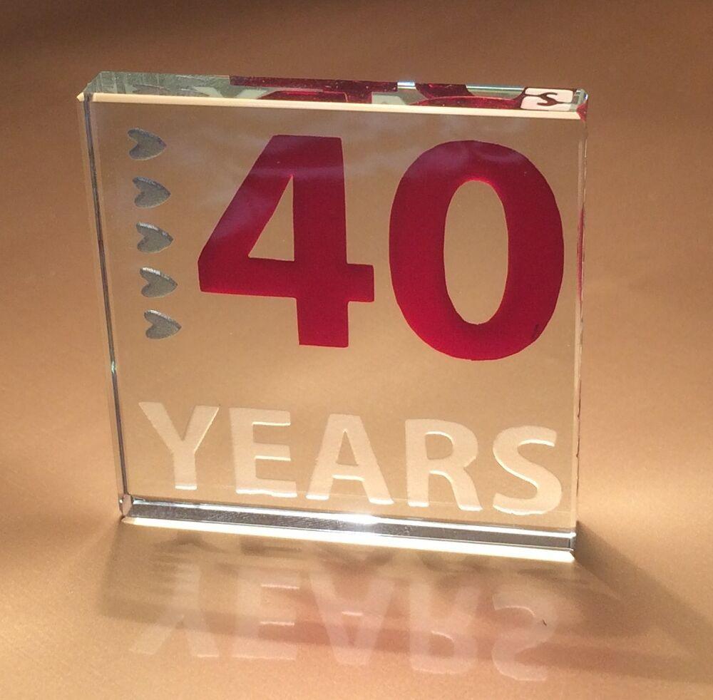 40Th Wedding Anniversary Gift Ideas  40th Ruby Wedding Anniversary Gifts Spaceform Glass Token