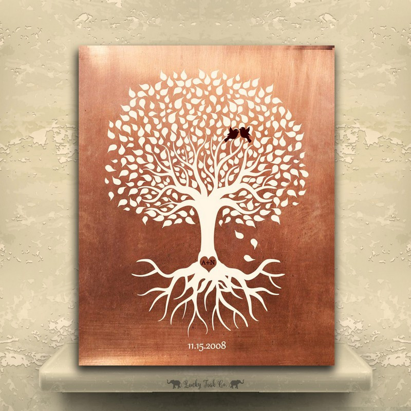 7 Year Anniversary Copper Gift Ideas  Minimalist Tree of Life Roots Heart Initials Love Birds