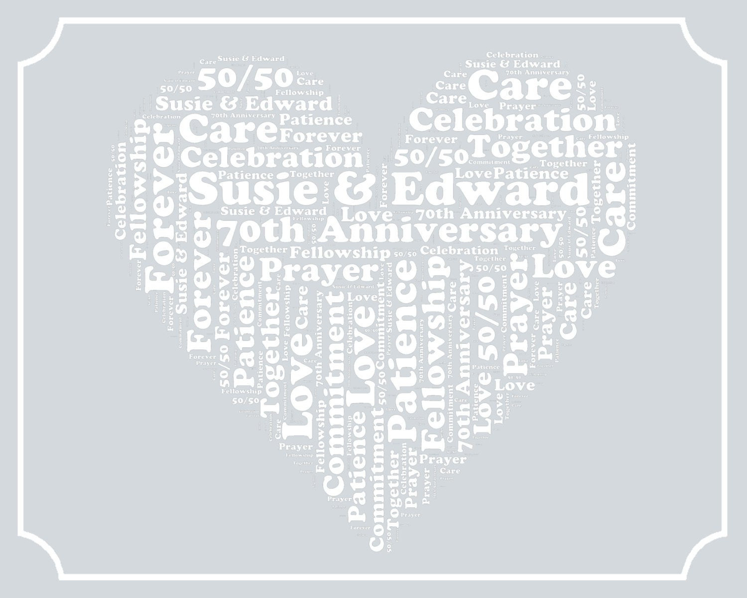 70Th Anniversary Gift Ideas  Personalized 70th Anniversary Gift Word Art Print by