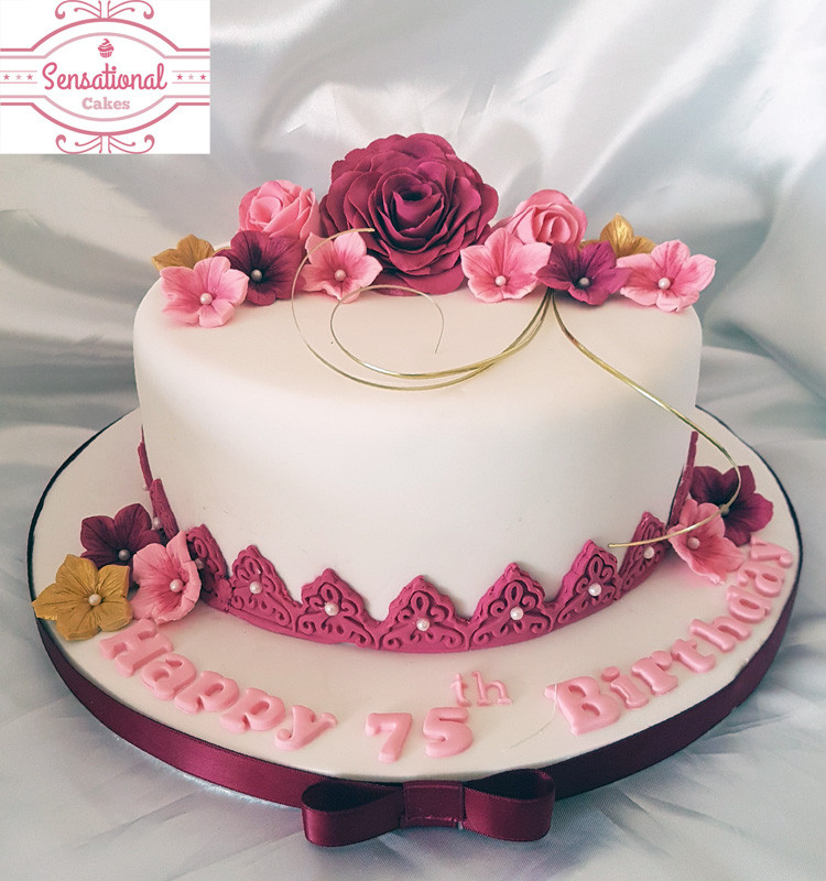 75th Birthday Cakes  75th Birthday cake with gumpaste flowers