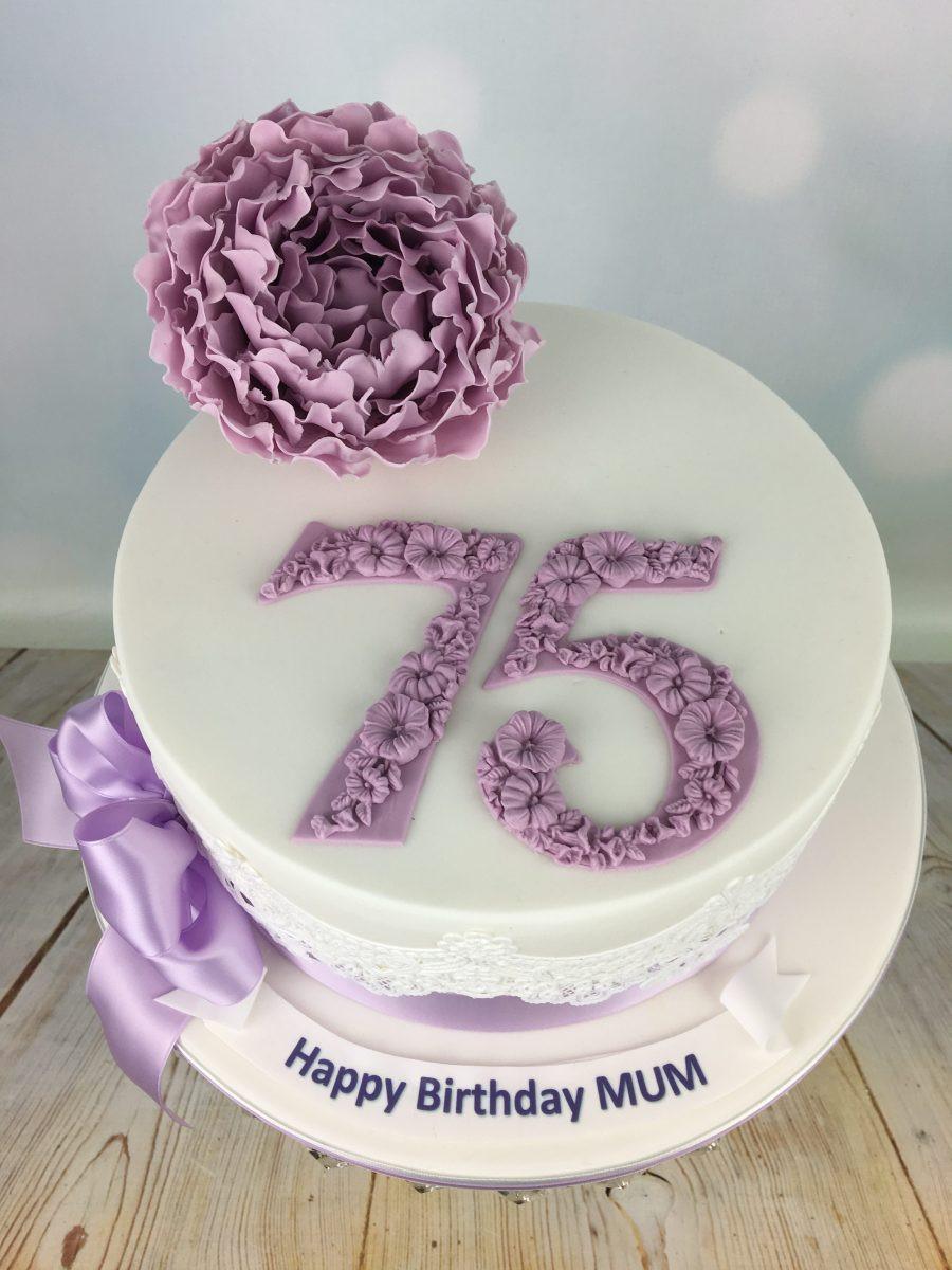 75th Birthday Cakes  Lilac Peony 75th birthday cake Mel s Amazing Cakes