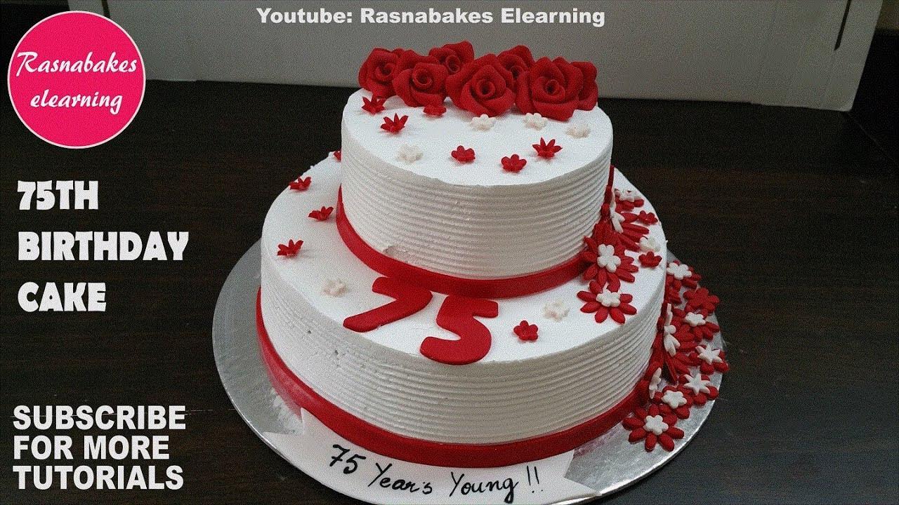 75th Birthday Cakes  simple 75th birthday custom celebration cake design ideas