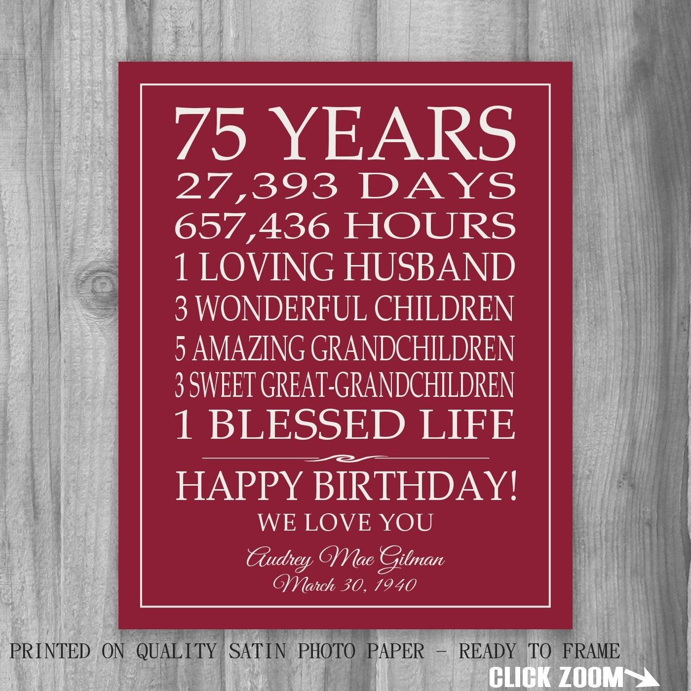 75Th Birthday Gift Ideas  75th BIRTHDAY GIFT Sign Print Personalized Art Mom Dad Grandma