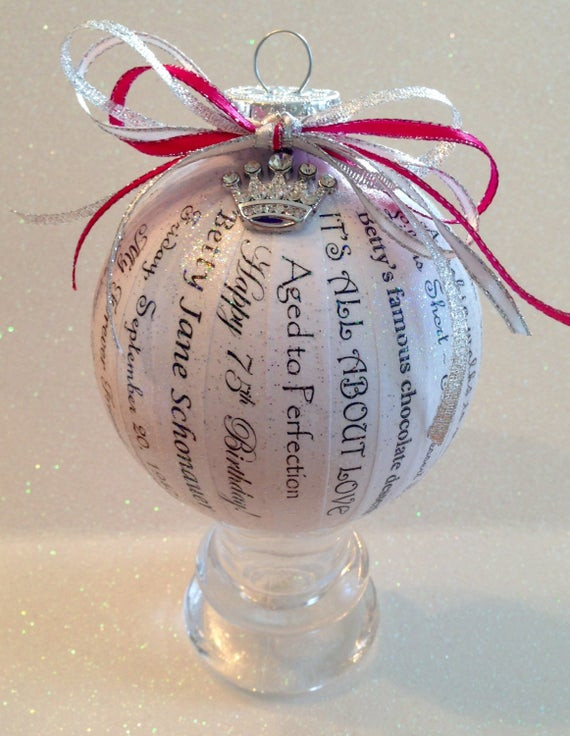 75Th Birthday Gift Ideas  75th Birthday Gift Unique Personalized Memory Ornament for