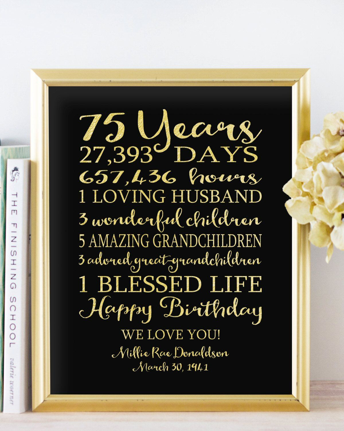75Th Birthday Gift Ideas  75th BIRTHDAY Sign Birthday Canvas GIFT Personalized 75
