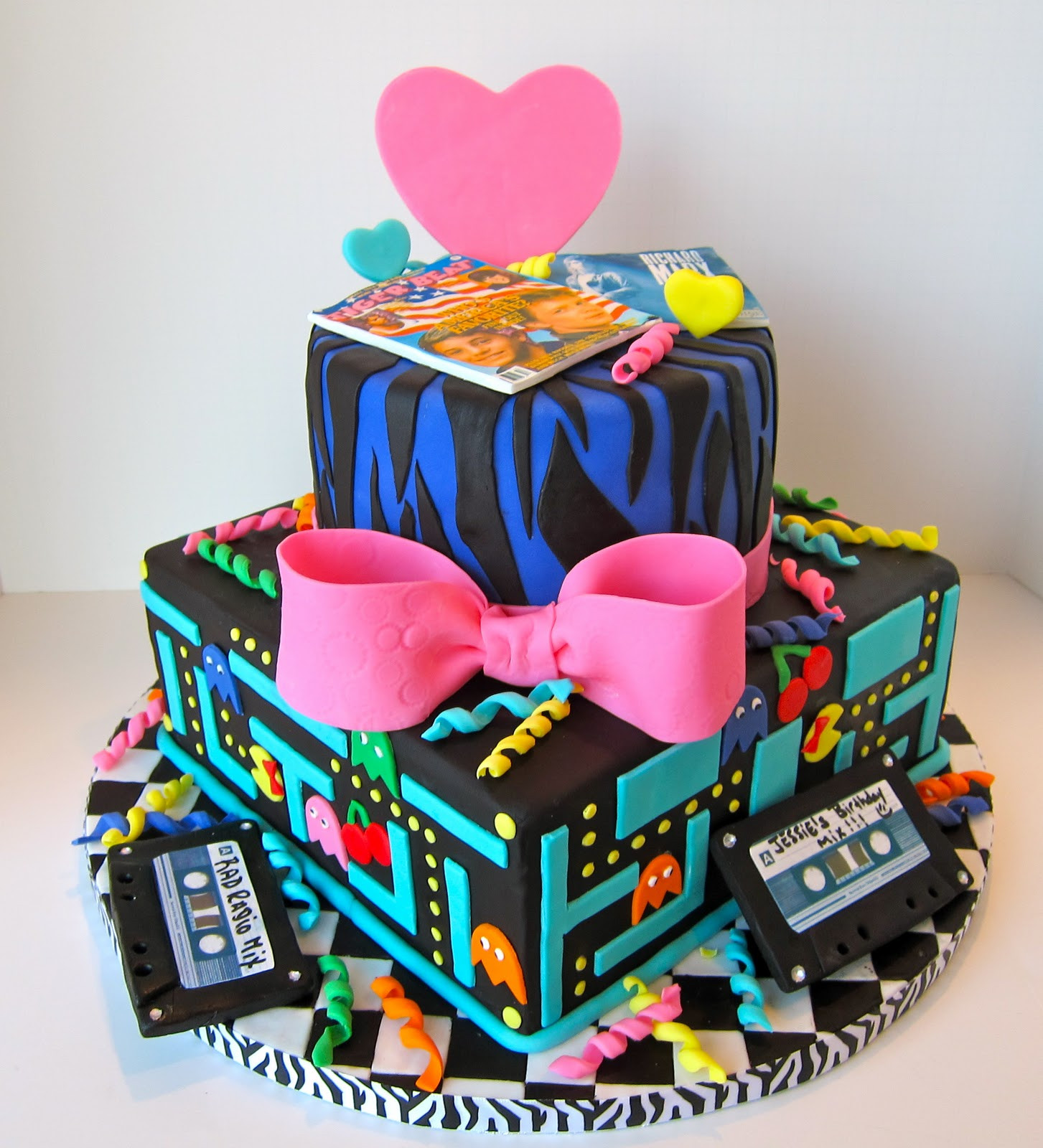 80 Birthday Cake  Cakegirl on the Run Totally Awesome 80s Cake