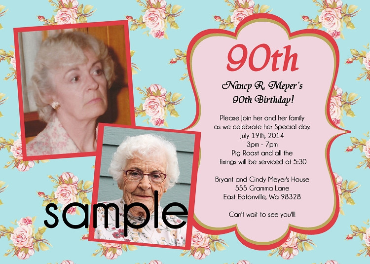 90th Birthday Invitation Wording  90TH BIRTHDAY INVITATIONS Use for ANY Age Printable or