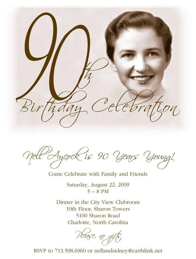 90th Birthday Invitation Wording  Free Printable 90th Birthday Invitations