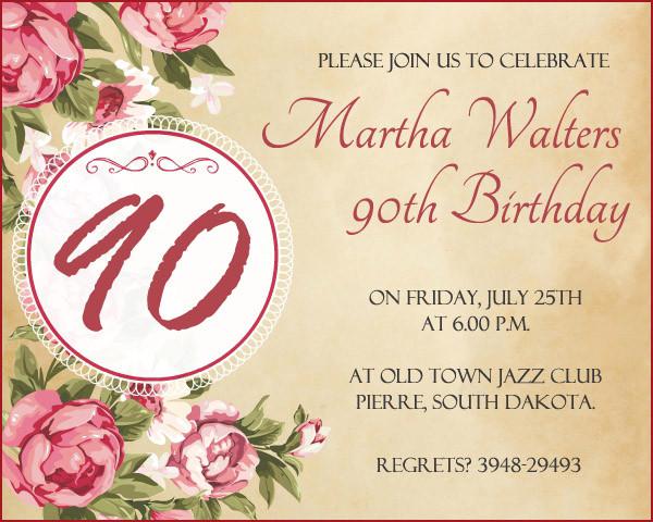 90th Birthday Invitation Wording  90th Birthday Invitation Wording 365greetings
