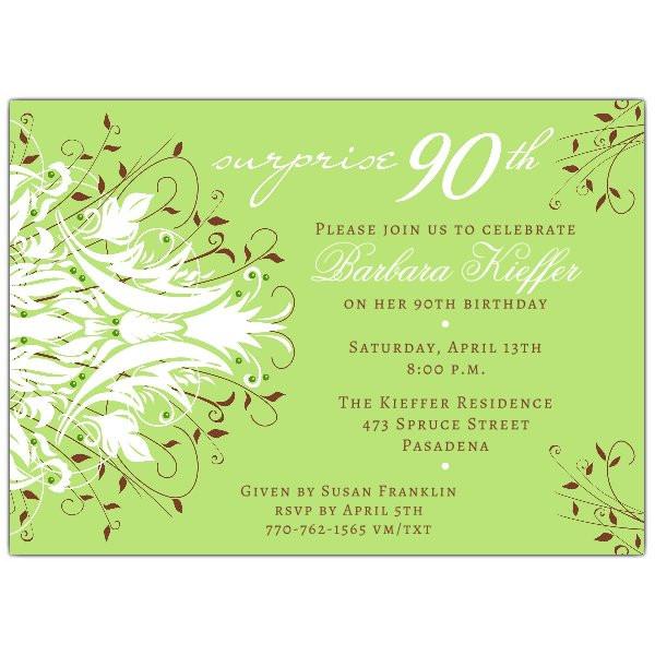 90th Birthday Invitation Wording  Andromeda Green Surprise 90th Birthday Invitations