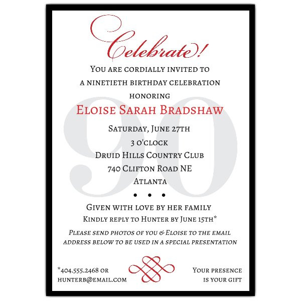 90th Birthday Invitation Wording  Classic 90th Birthday Invitations