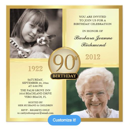 90th Birthday Invitation Wording  90th Birthday Invitations 30 Fabulous Invites to