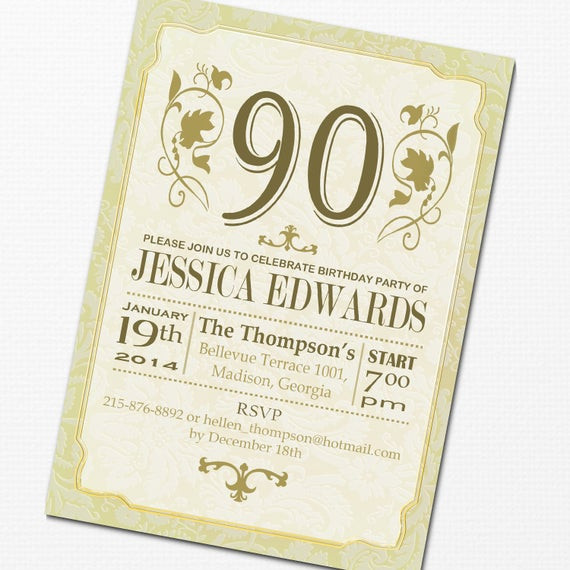 90th Birthday Invitation Wording  Items similar to 90th Birthday Invitation DIY Printable