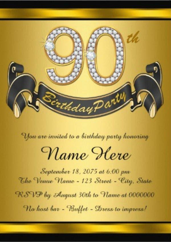 90th Birthday Invitation Wording  11 90th Birthday Invitations Designs & Templates PSD
