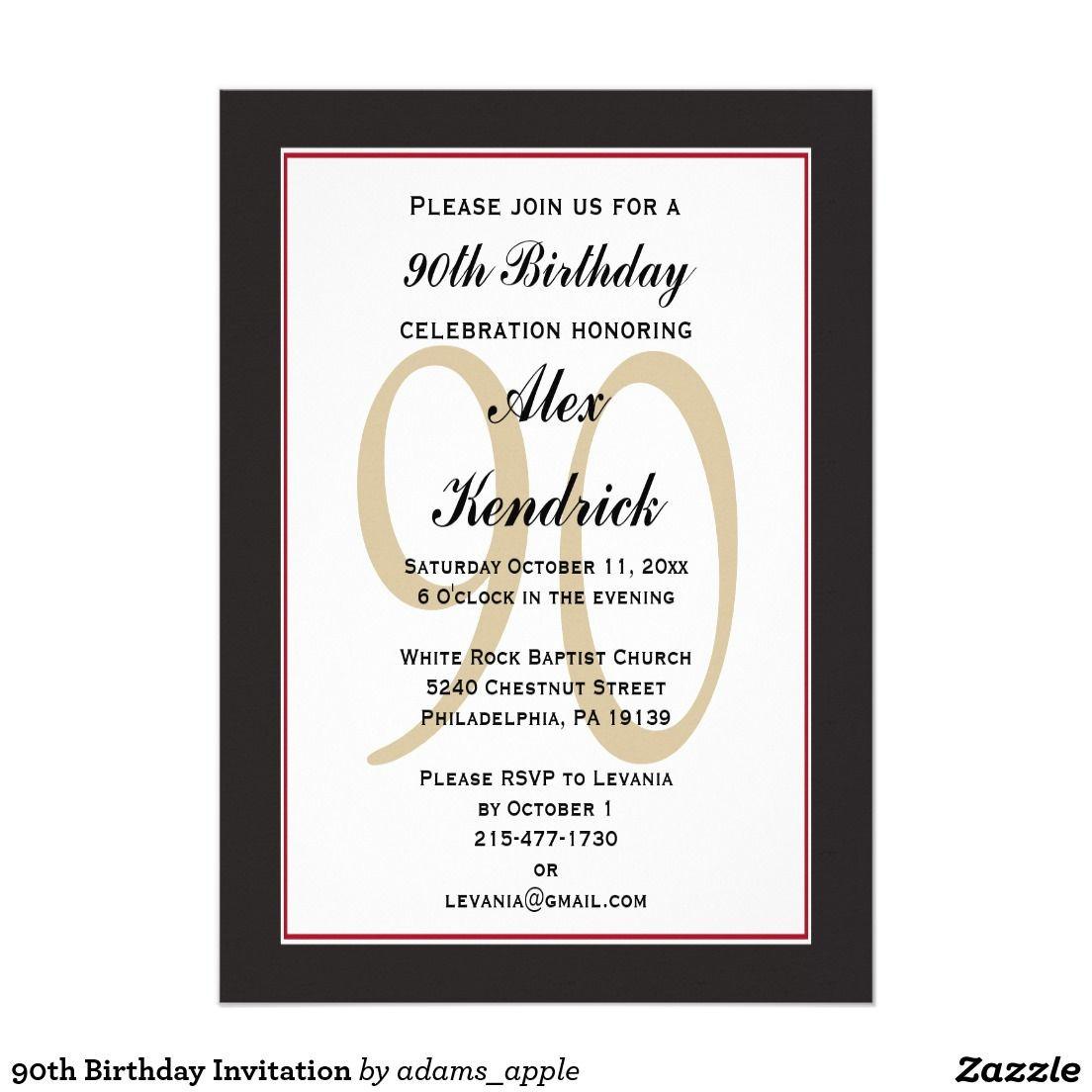 90th Birthday Invitation Wording  90th Birthday Invitation
