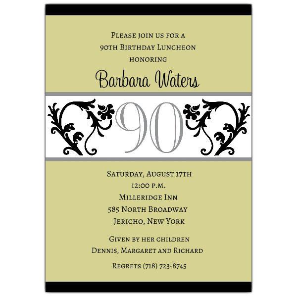90th Birthday Invitation Wording  Elegant Vine Chartreuse 90th Birthday Invitations