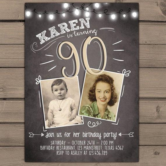 90th Birthday Invitation Wording  90th birthday invitation Vintage birthday invite Chalkboard