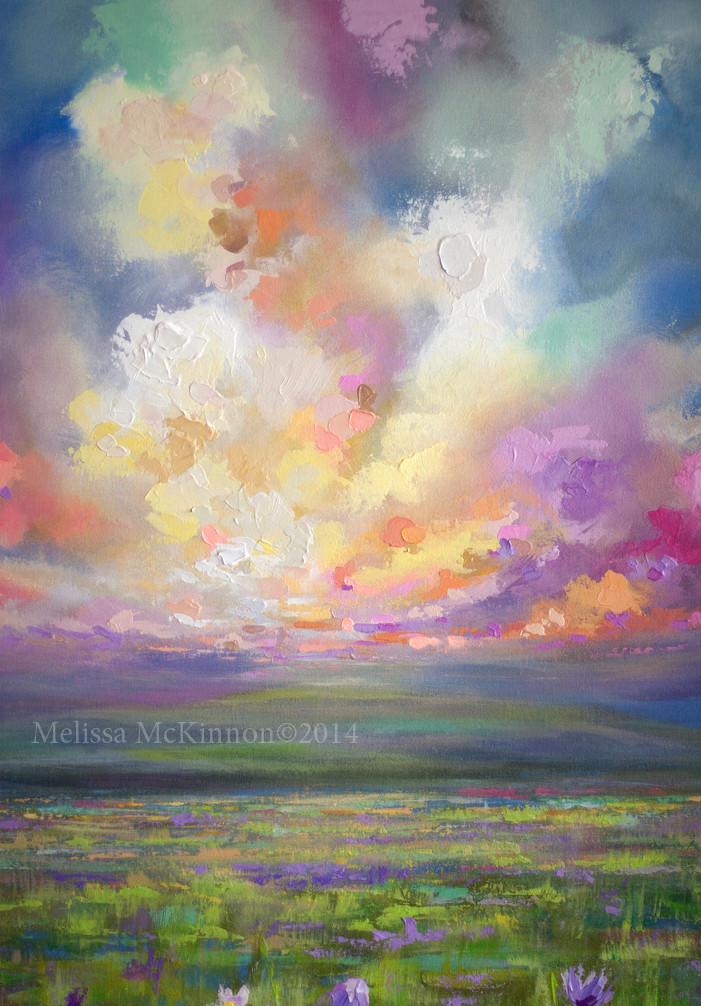 Abstract Landscape Paintings  Colourful Prairie and Big Sky Abstract Landscape Painting