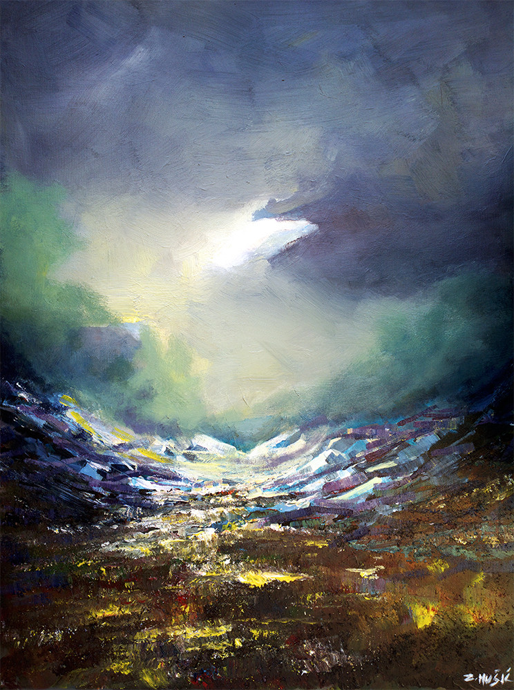 """Abstract Landscape Paintings  New abstract landscape painting """"The valley of the shadow"""