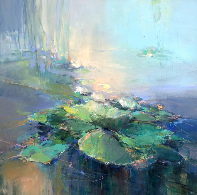 Abstract Landscape Paintings  Magdalena Morey Waterlilies I original abstract