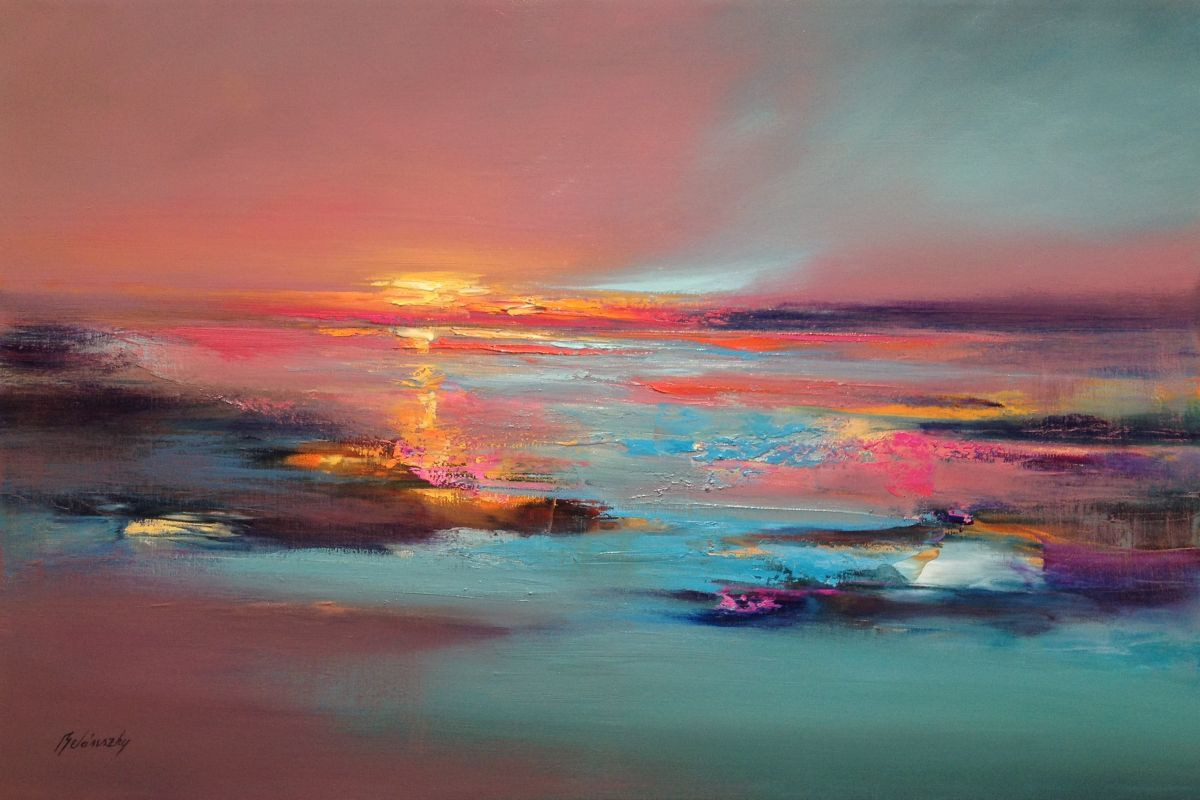 Abstract Landscape Paintings  Silent Talks 60 x 90 cm abstract landscape oil painting