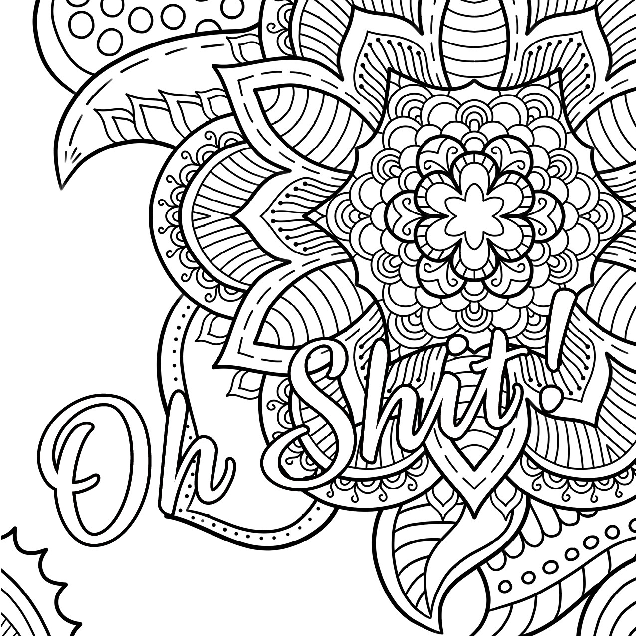 Adult Coloring Pages Swear Words  Oh Shit Free Coloring Page Swear Word Coloring Book