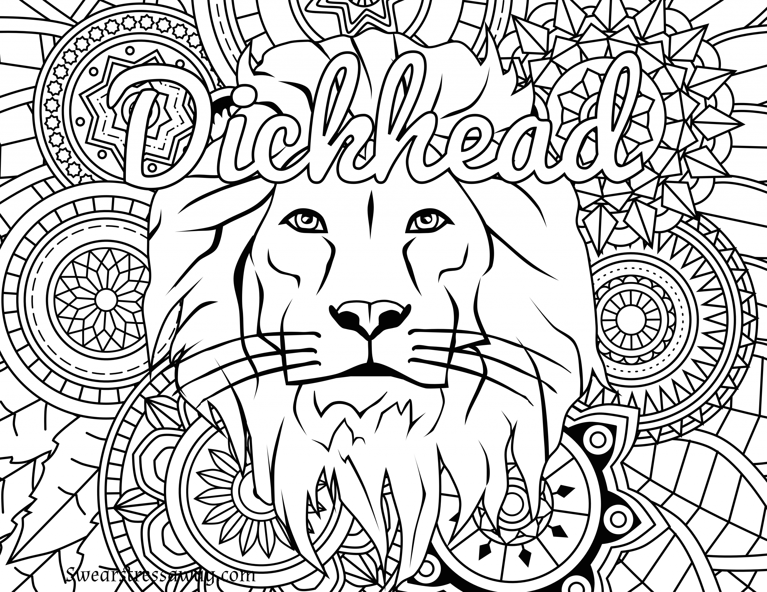 Adult Swear Coloring Pages  Free Printable Coloring Page Dickhead Swear Word