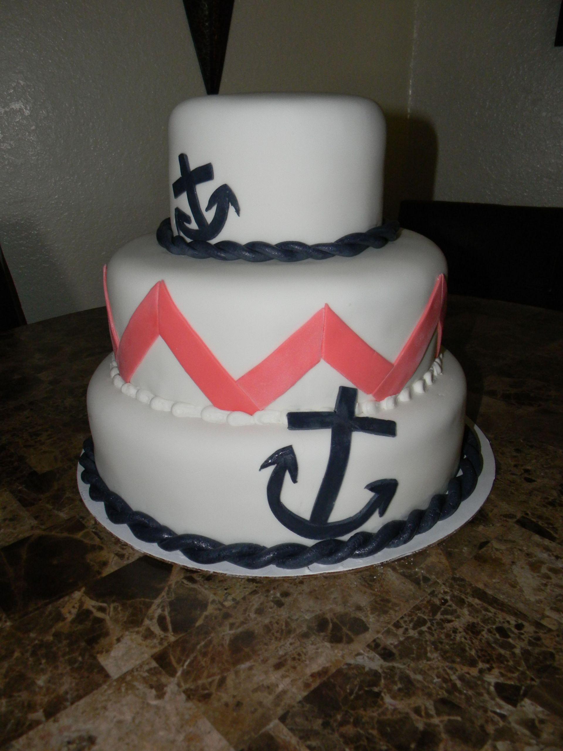 Anchor Birthday Cakes  Anchor and Coral chevron cake