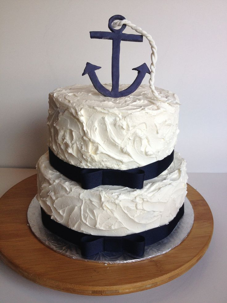 Anchor Birthday Cakes  Nautical Themed Buttercream Cake Anchor and rope made