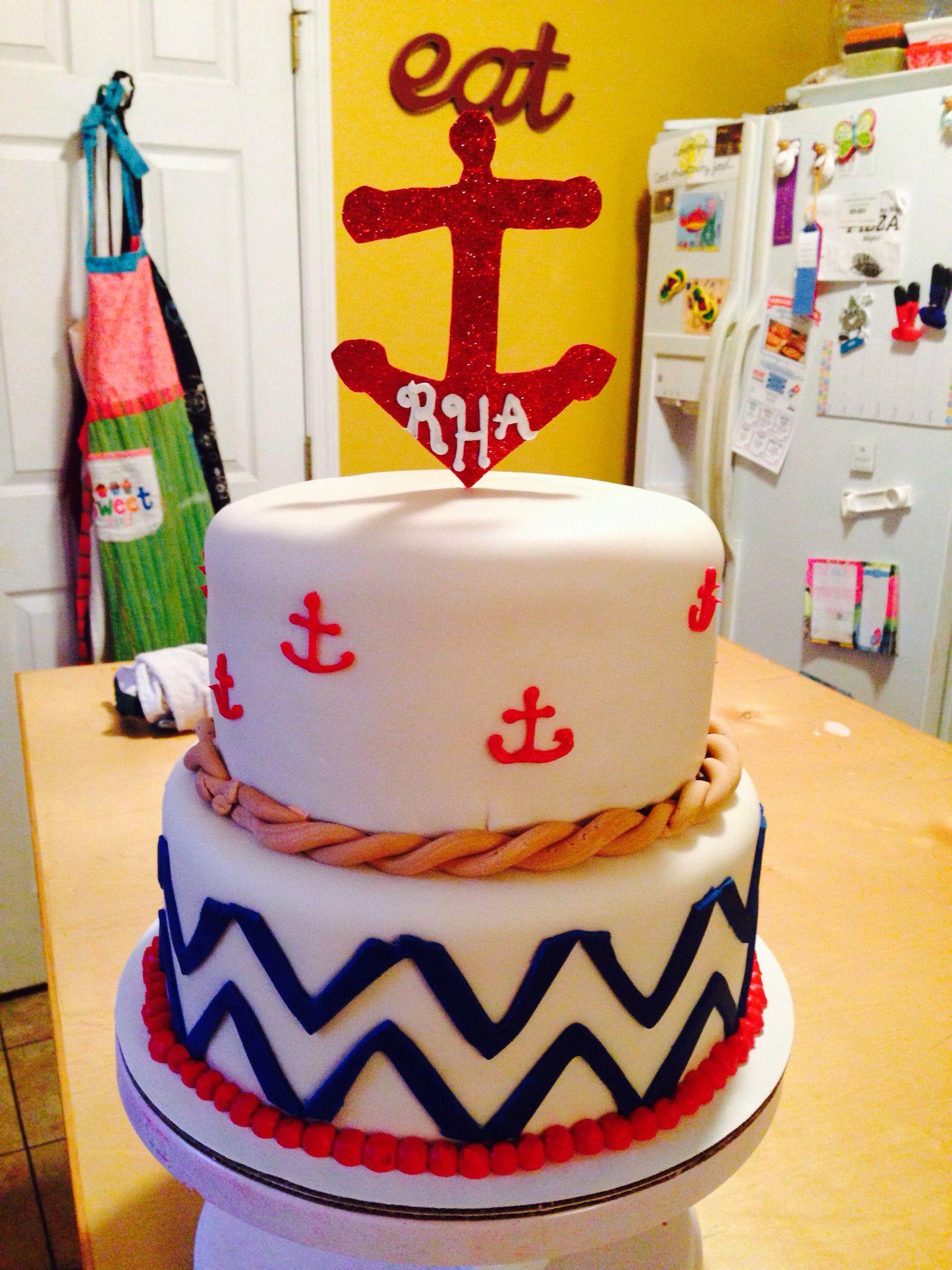 Anchor Birthday Cakes  Anchors and chevron cake