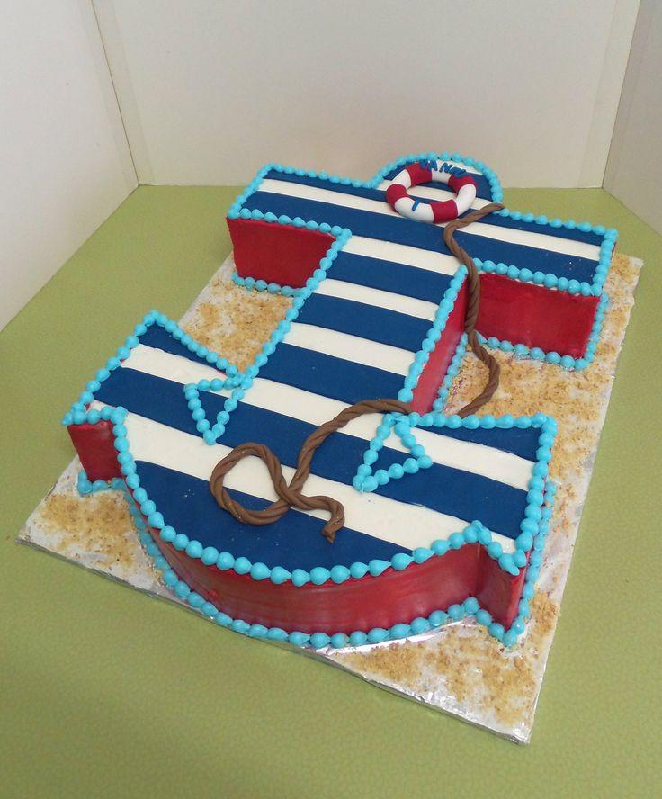 Anchor Birthday Cakes  Nautical anchor shaped birthday cake in 2020
