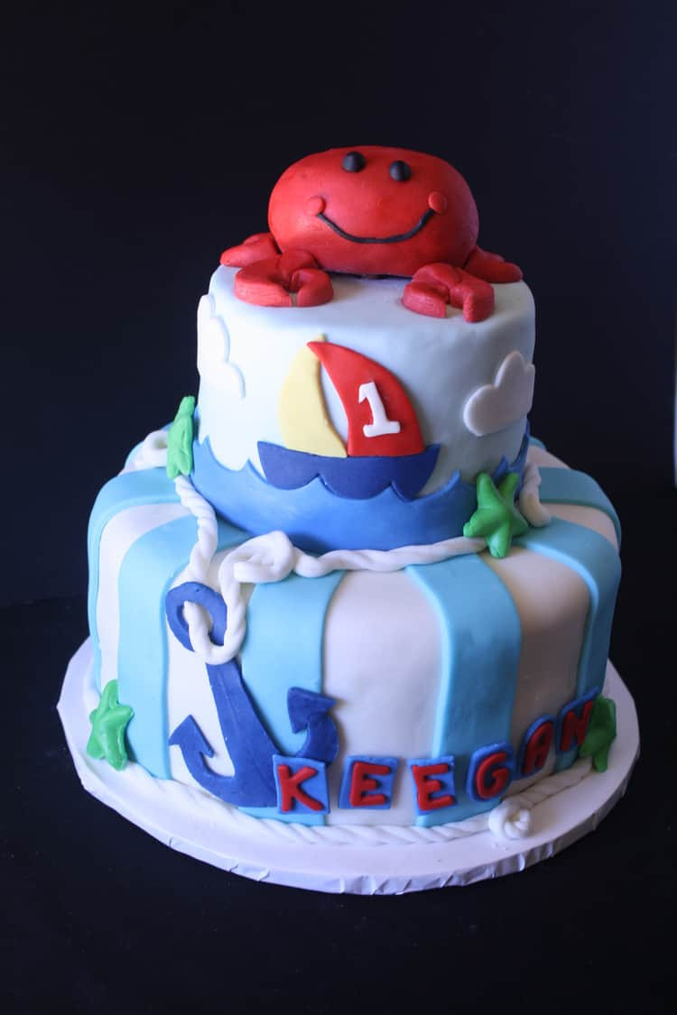 """Anchor Birthday Cakes  """"Anchors Aweigh"""" Nautical Theme Cake with a Crab on Top"""