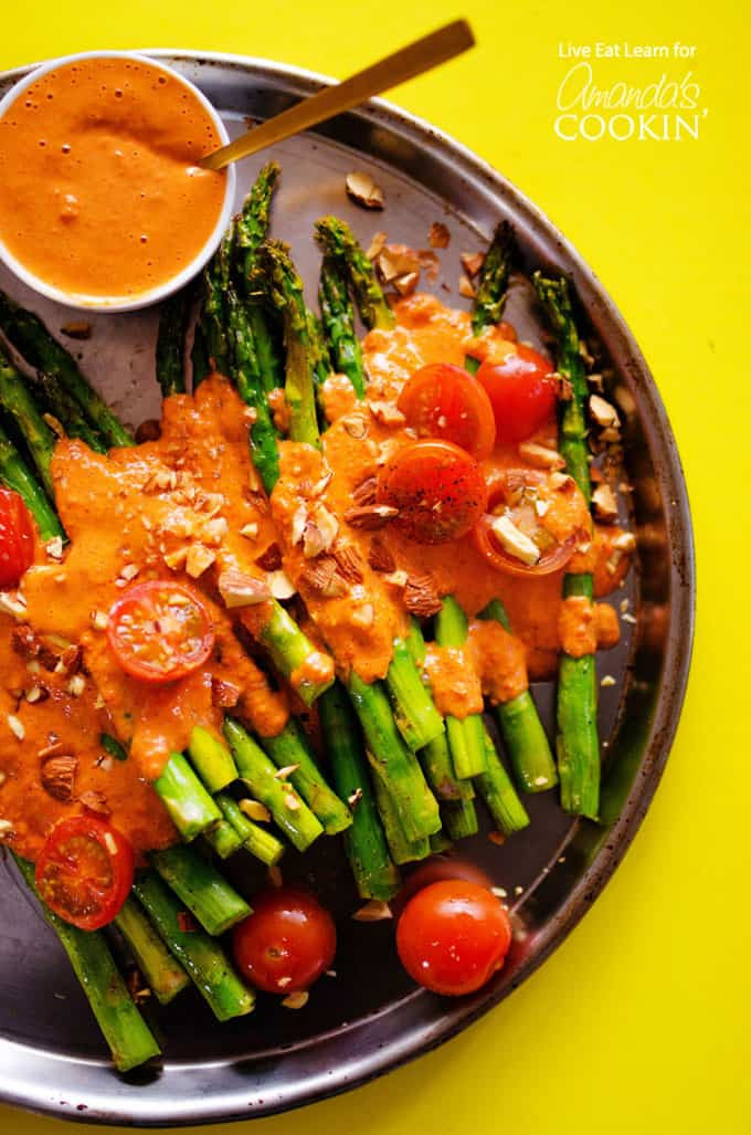 Asparagus Side Dishes  Roasted Asparagus topped with healthy smokey romesco sauce