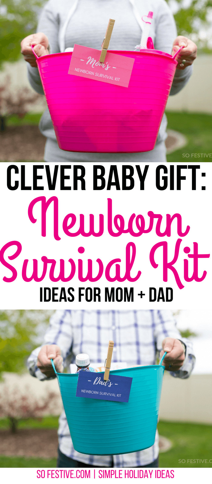 Baby Shower Gift Ideas For Mom And Dad  Newborn Survival Kit Baby Gift For Parents So Festive