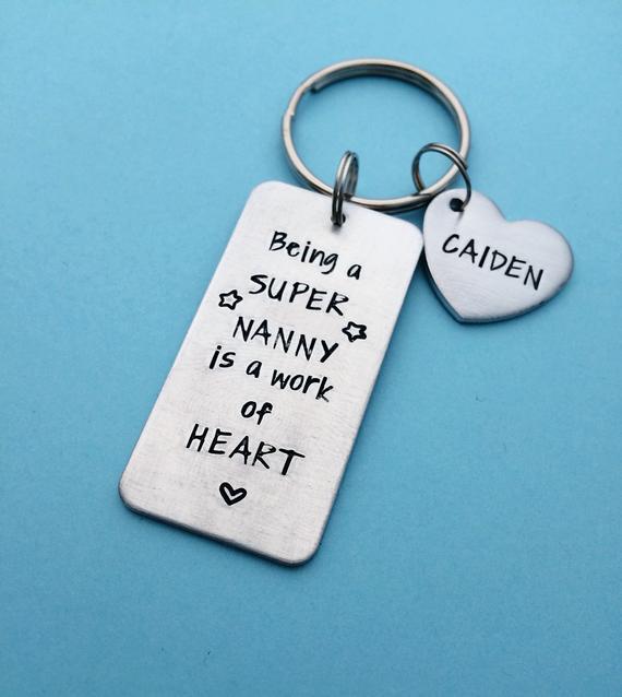 Babysitter Gift Ideas  nanny t babysitter t hand stamped keychain